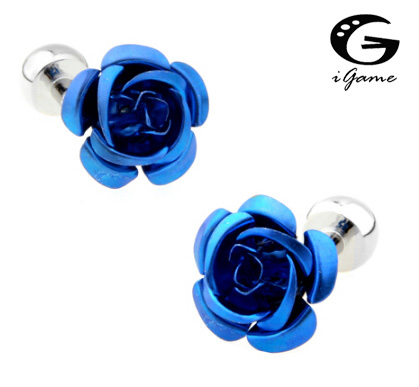 IGame Factory Price Retail Classic Men Gifts Cuff Links Copper Material Blue Rose Flower Design CuffLinks Free Shipping
