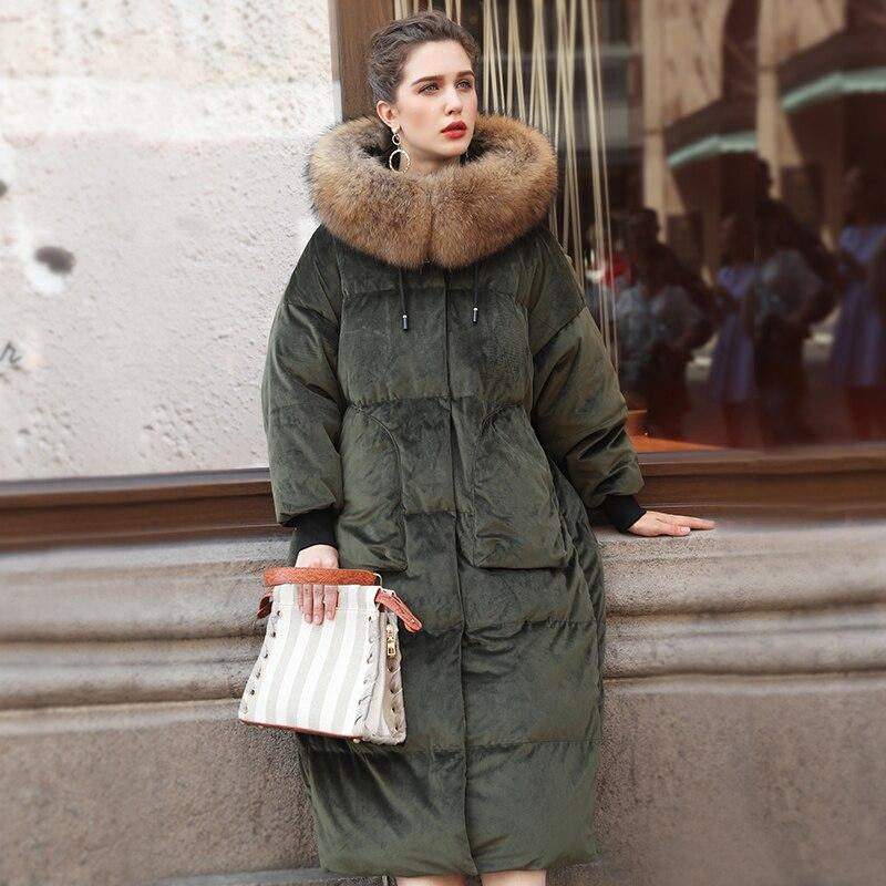 Manteau Marques Bas Col Coréenne Vers De Femmes Vert Plus Laveur Femme Nouveau Le Réel 90 Épais Doudounes Taille Fourrure D'hiver Veste Raton Long 2018 vfwEBTxq