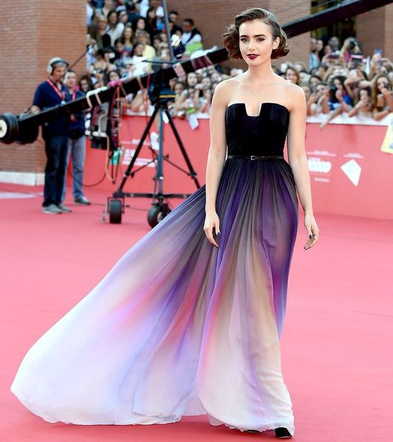 Custom Made Lily Collins Red Carpet Dress Long Colorful Chiffon Prom Party  Dress Sexy Backless Evening Formal Dress c7f3a70de1c0