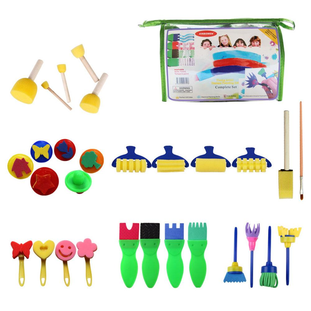 29 PCS Childrens Painting Sponge Brush Creative Graffiti Puzzle Early Education Toys DIY Manual Watercolor Painting Drawing Set
