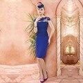 Elegant Royal Blue Vaina de Manga Corta Encajes Madre de la Vestidos de novia 2016 de Longitud de La Rodilla Del Partido Prom Vestidos vestido de madrina VM27