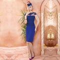 Elegant Royal Blue Vaina de Manga Corta Encajes Madre de la Vestidos de novia 2017 de Longitud de La Rodilla Del Partido Prom Vestidos vestido de madrina VM27