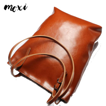 MOXI Women Tote Oil Wax Leather Female Handbag Large Capacity Ladies Messenger Bag Vintage Retro Women Shoulder Bag Leather