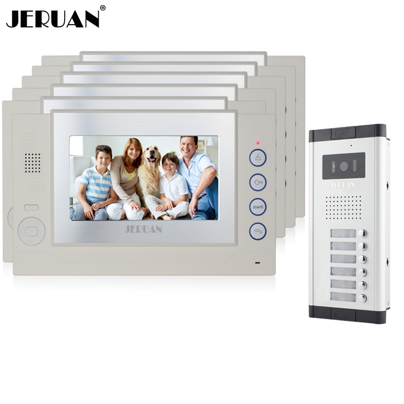 JERUAN Apartment 6 White Doorbell 7 inch Video Door Phone Record Intercom System 1 HD IR Night Vision Camera for 6 Call button my apartment