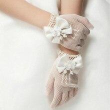 Свадебные перчатки принцессы для девочек; сетчатые Вечерние перчатки с бантом; праздничные аксессуары для дня рождения и церемонии; перчатки для выступлений для девочек