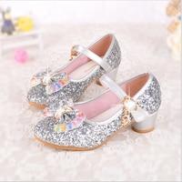 qloblo Cute Girls Shoes Children's Fashion High Heels Leather Soles Dream Cartoon Princess Shoes Sequins for Kids