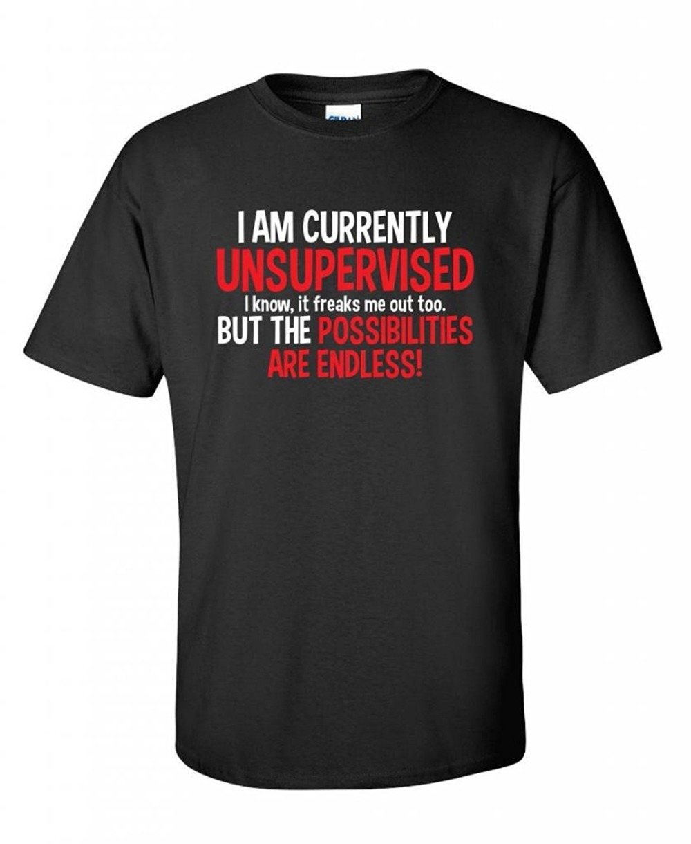 2018 Streetwear Short Sleeve Tees I Am Currently Unsupervised Adult Humor Novelty Graphic Sarcasm Funny T Shir T-Shirt men t shi