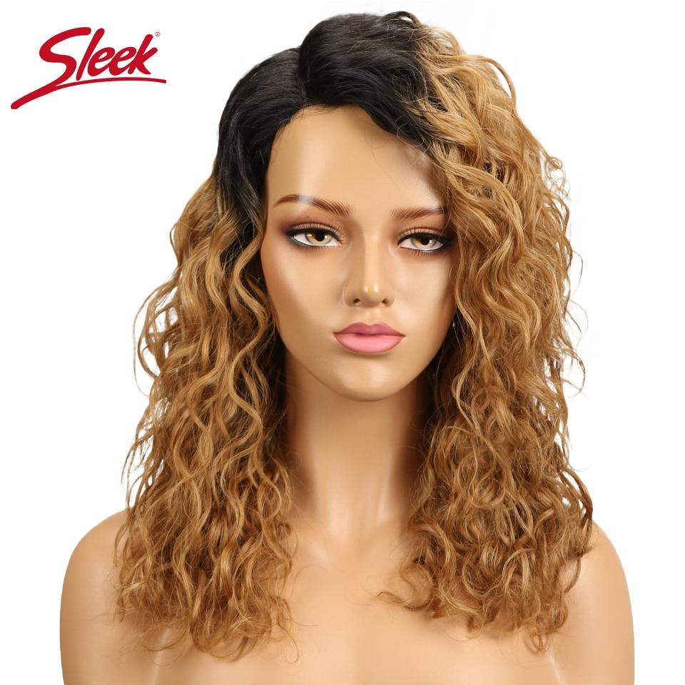 Sleek Blonde Curly Human Hair Wigs For Black Women 99j T1b