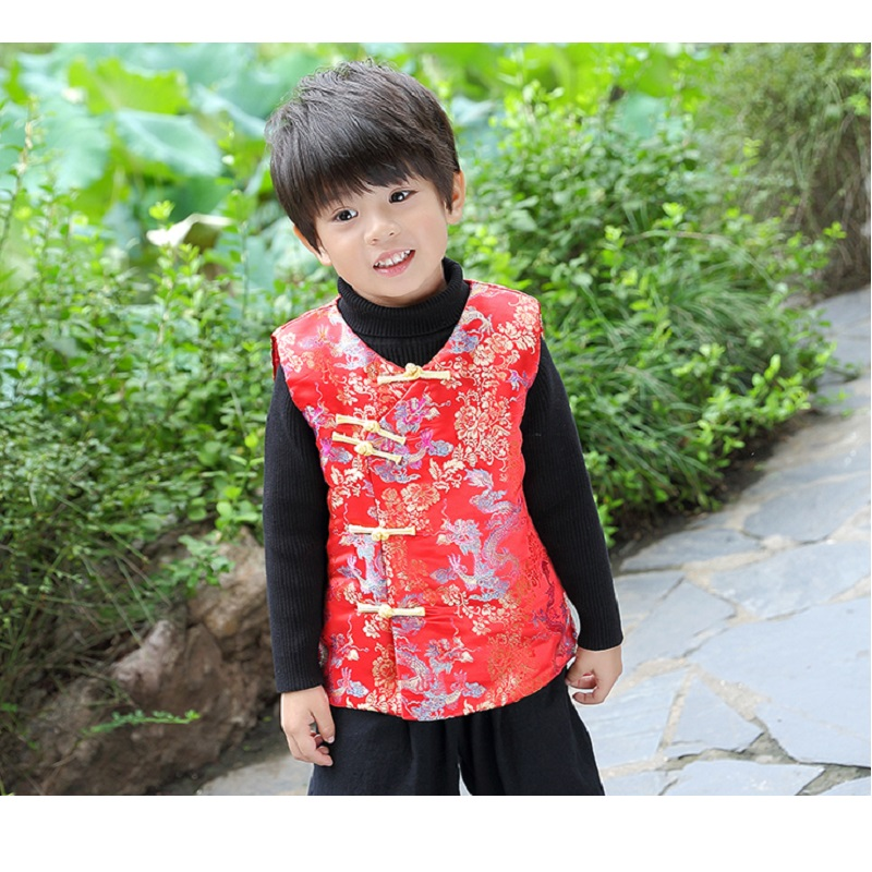 China Dragon Children Vest 2019 New Year Baby Boy Waistcoat Spring Festival  Tang Suit Boys Coat Cheongsam Outfit Tank Top 2 14-in Vests   Waistcoats  from ... 581c0373406b