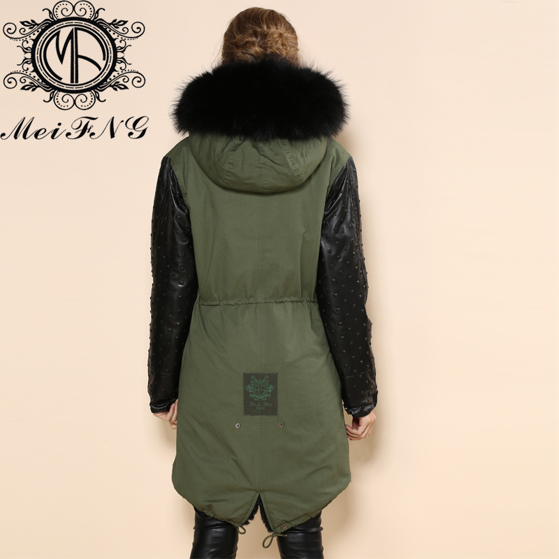 Women parka outwear warm sheepskin sleeve army green coat fashion long  jacket black ladies fur coats-in Faux Fur from Women s Clothing on  Aliexpress.com ... aef2d7dc0b51