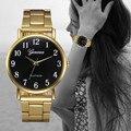 2016 Novas Mulheres Da Moda Banda de Aço Inoxidável Relógios de Ouro Genebra Analógico Quartz Relógio de Pulso Ladies Watch Casual Montre Femme