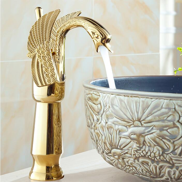Brass chrome/gold/black oil brushed/antique swan basin faucet hot and cold Crane single lever bathroom sink faucet basin Tap square international award design brass single lever bathroom basin faucet bathroom sink faucet bathroom faucet
