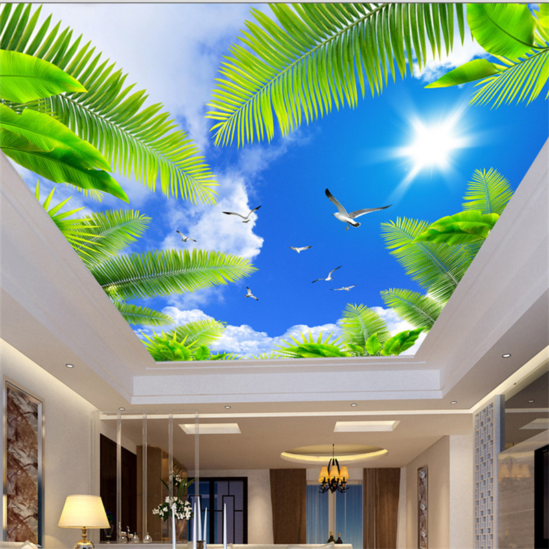 8d Crystal Wall Ceiling Mural Wallpaper For Ceiling Sky Cloud Sun