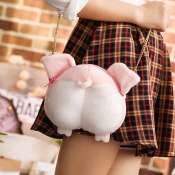 1pc 20x20cm Kawaii Pig wallet Piggy ass styling purse Plush chain shoulder bag mobile phone bags High quality short plush fabric