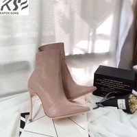 High Heels Genunie Leather Boots Women Luxury Designer Short Ankle Female Fashion Boots Really Leather Sole