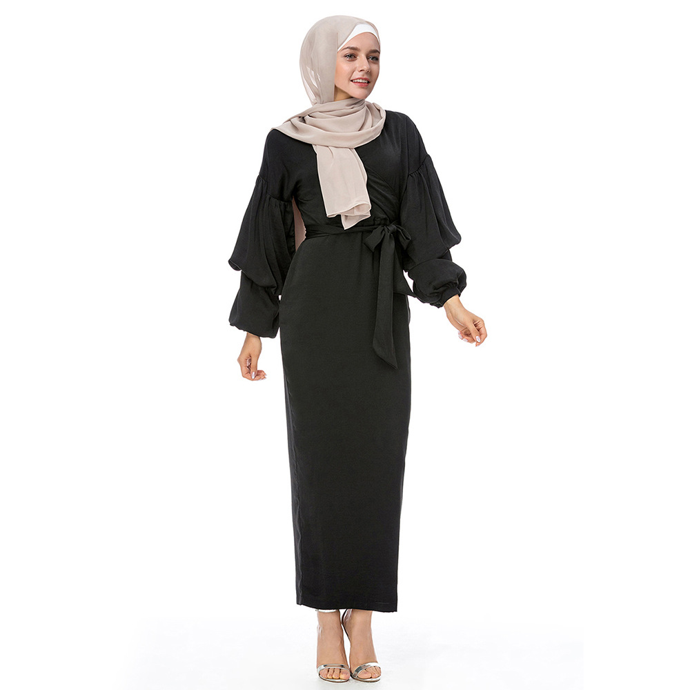2019 mode femmes robe musulmane col en V manches bouffantes Ropa musulmana mujer turquie arabe dubaï Abaya caftan Hijab robe Abaya