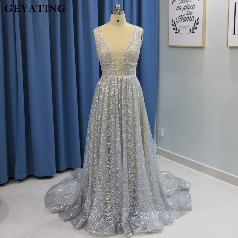 V Neck Beaded Wedding Gowns: Aliexpress.com : Buy Sparkly Silver Grey V Neck Wedding