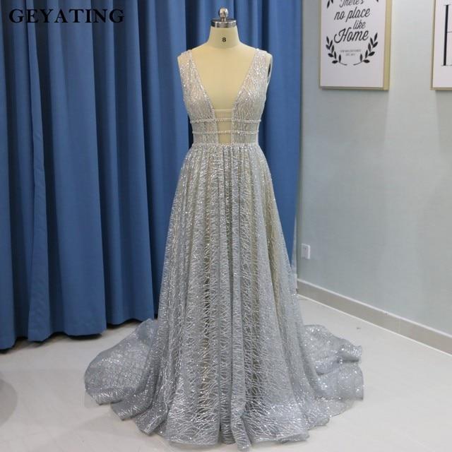 Sparkly Silver Grey V Neck Wedding Dress Long Beaded Backless Wedding Dresses 2019 Vestidos de novia Court Train Bridal Gowns