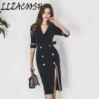 Navy Blue Blazer Formal Long Dress Office Lady Striped Patchwork Double breasted V neck Fashion Korean Mid calf Dress With Belt