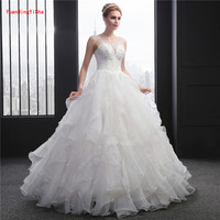 New Elegant Princess Wedding Dresses 2017 V Neck Ball Gown Lace Up Back Beads Tulle Floor