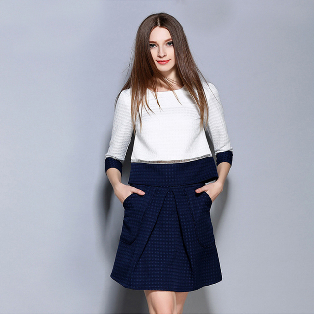 Europe 2016 autumn patchwork jacquard o-neck shirt top+ fashion skirt two piece sets lady's Elegant office work skirt suit M1393
