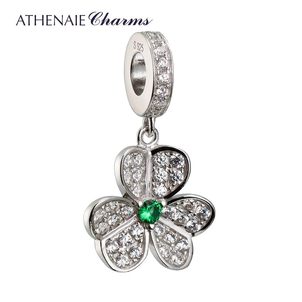 ATHENAIE 925 Silver with Pave Clear CZ Shamrock Hearts Faith Love Hope Pendant Drops Charms Fit All European Bracelets