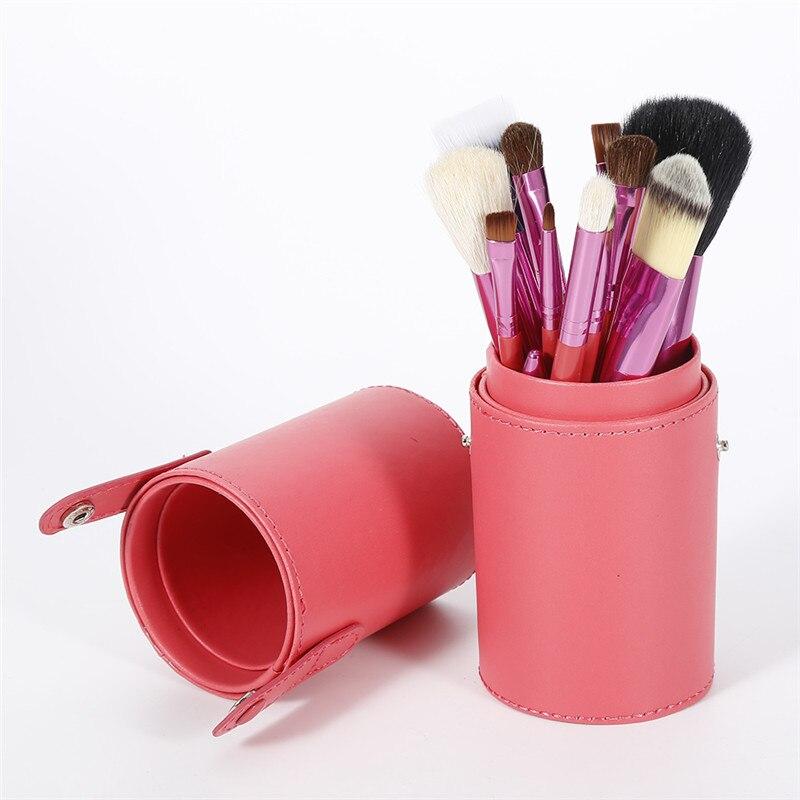 New Arrival Pro 15pcs Makeup Brushes Set Powder Foundation Eyeshadow Eyeliner Lip Face Brush Tool With Leather Cup Holder Case makeup brushes set tool 18 15pcs brushes