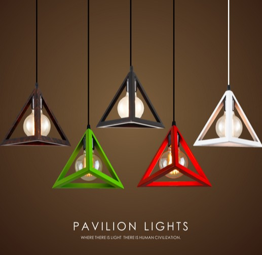 Simple Color Loft Lamp Edison Bulb Modern Pendant Light Fixtures Creative Triangle Hanging Lamp For Dining Room Indoor Lighting modern 3 color adjustable triangle