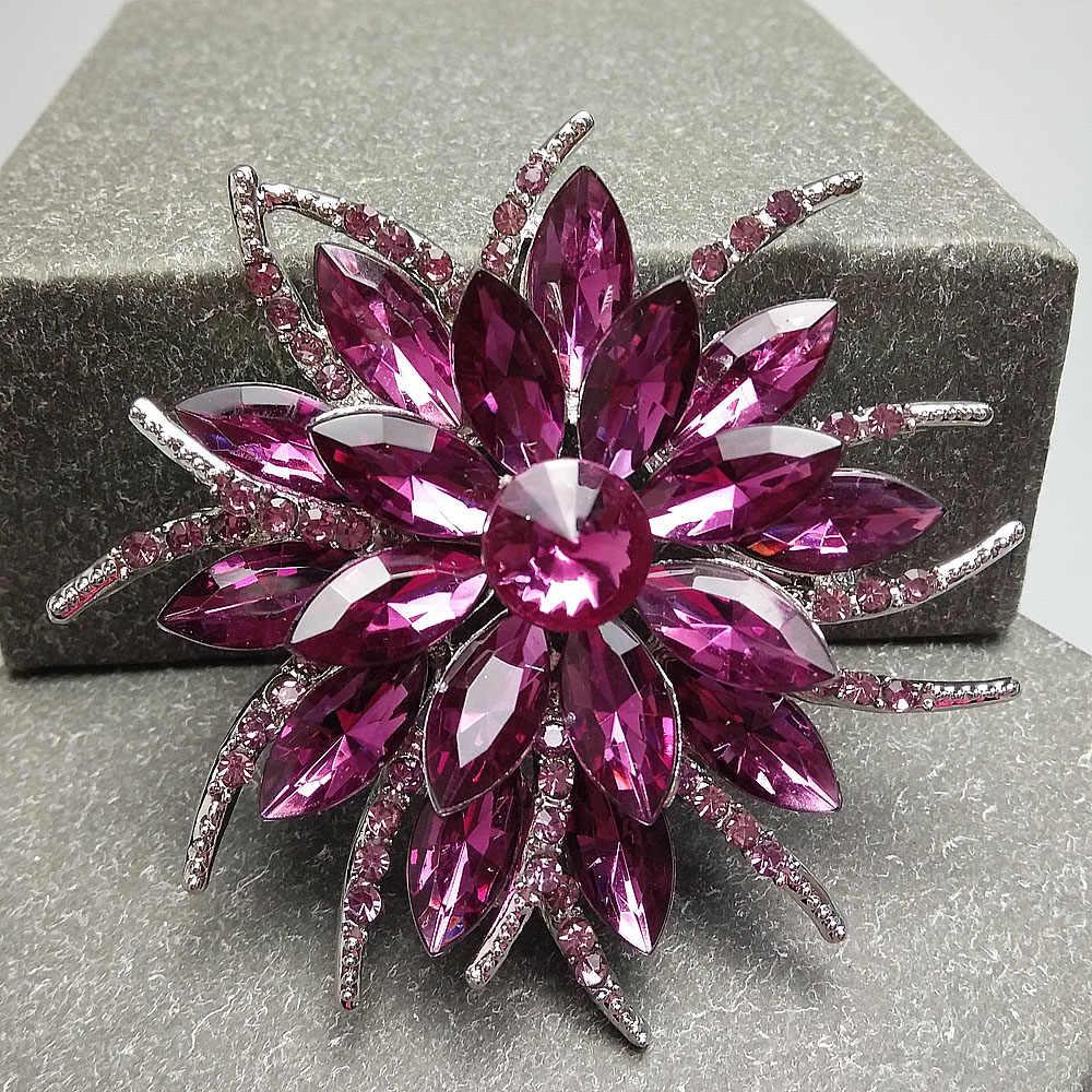Cinkile Kristal Ungu Bunga Bros untuk Wanita Elegan Bros Pin Berlapis Perak Fashion Perhiasan Suit Aksesoris Korsase