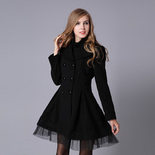 Women Autumn Winter Fashion Woolen Coat Ladies Trench Solid Slim Warm Jacket Casual Tulle Skirt Long Lapel Outwear Peacoat Coats(China)