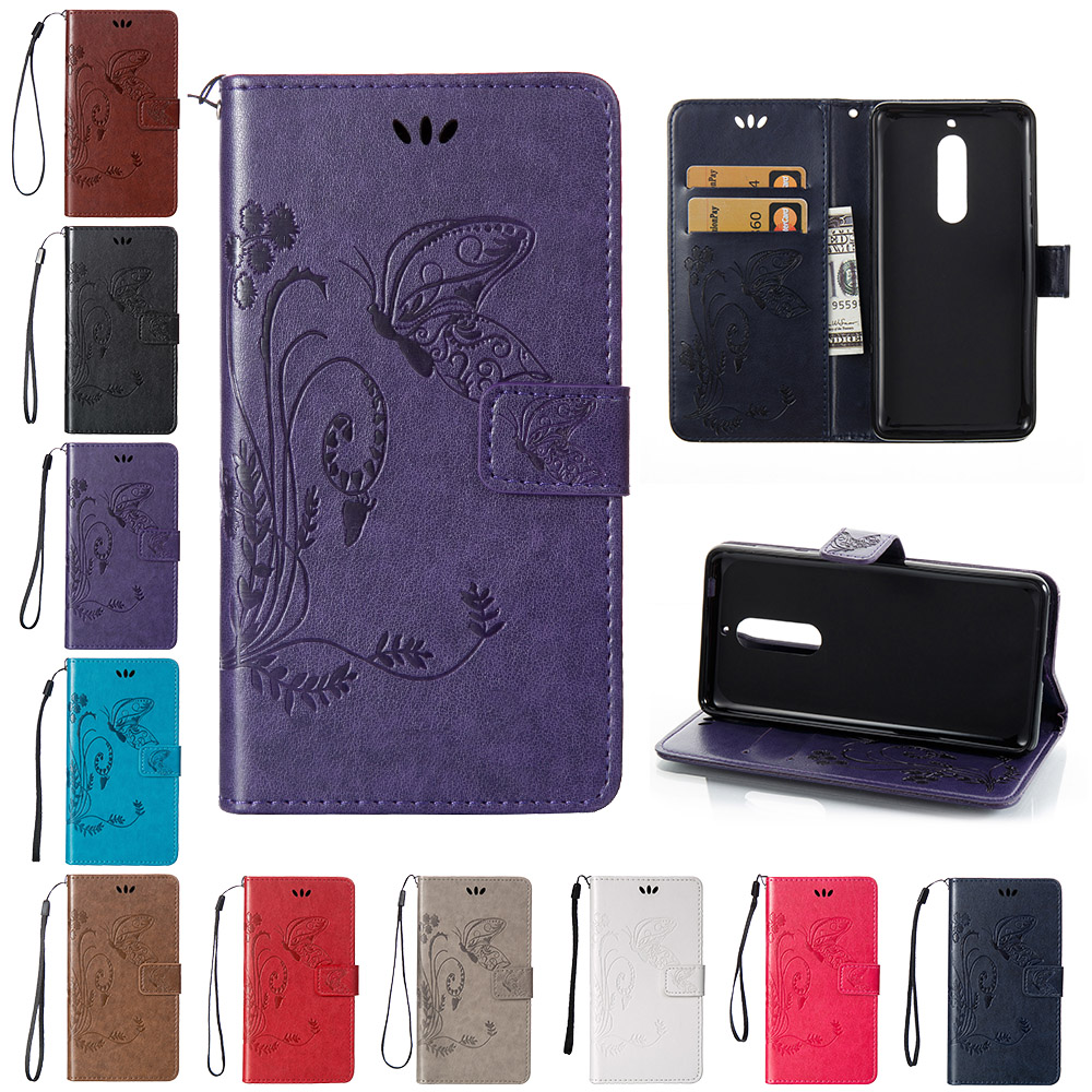 Flip Case for Nokia5 <font><b>TA</b></font>-<font><b>1053</b></font> <font><b>TA</b></font>-1024 Case Phone Leather Cover for Nokia 5 Global Dual <font><b>TA</b></font> <font><b>1053</b></font> Butterfly Wallet Silicone Cases image