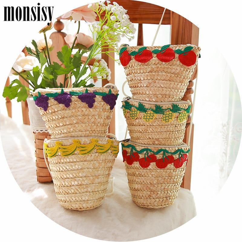 Monsisy Fruit Straw Bag Girl Rattan Bag Summer Kawaii Apple/Cherry/Banana/Pineapple/Grape Beach Bag Holiday Trip Baby Handbag beach trip