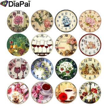DIAPAI Full Square/Round Drill 5D DIY Diamond Painting Flower and bird clock 3D Embroidery Cross Stitch Decor Gift