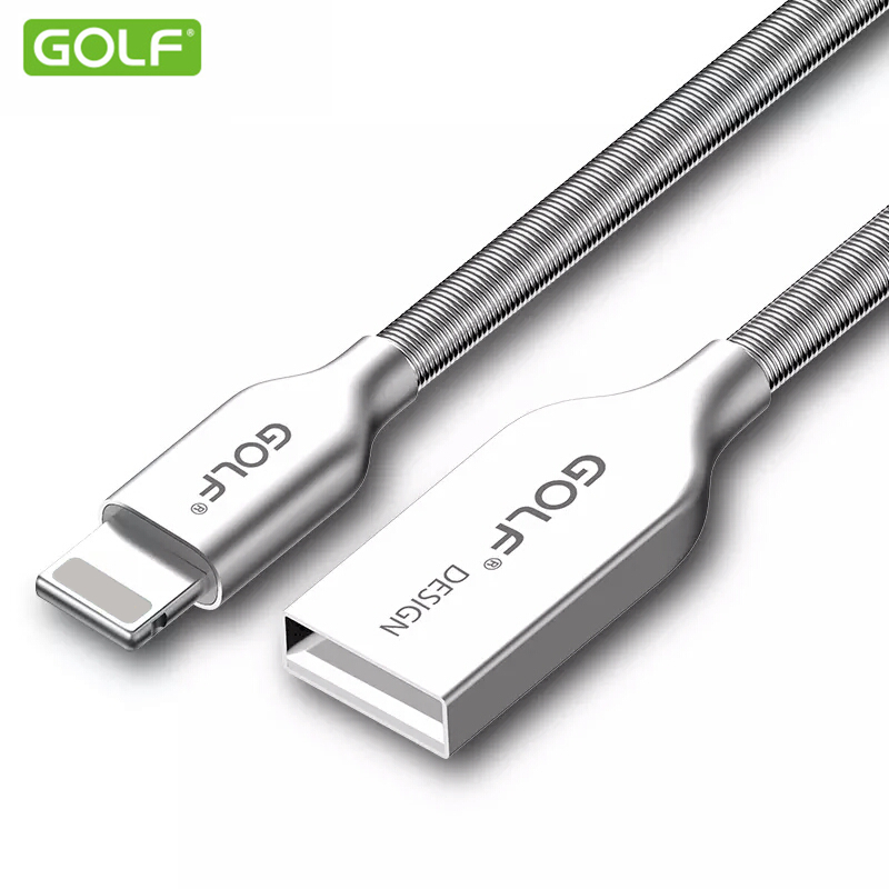 GOLF 100cm Zinc Alloy Metal Spring Fast Charger For iPhone 6 6S 8 X 7 Plus 5 5S iPad Air 2 USB Data Sync Transfer Cable