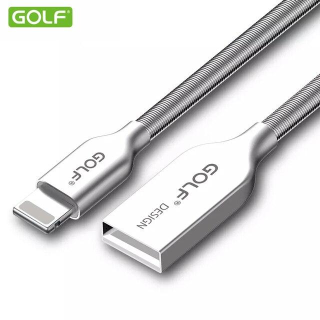 GOLF 100 cm de Aleación de Zinc de Metal Primavera Cargador Rápido Para el iphone 6 6 S 8 Plus 7X5 5S iPad Aire 2 USB Data Sync Cable de Transferencia