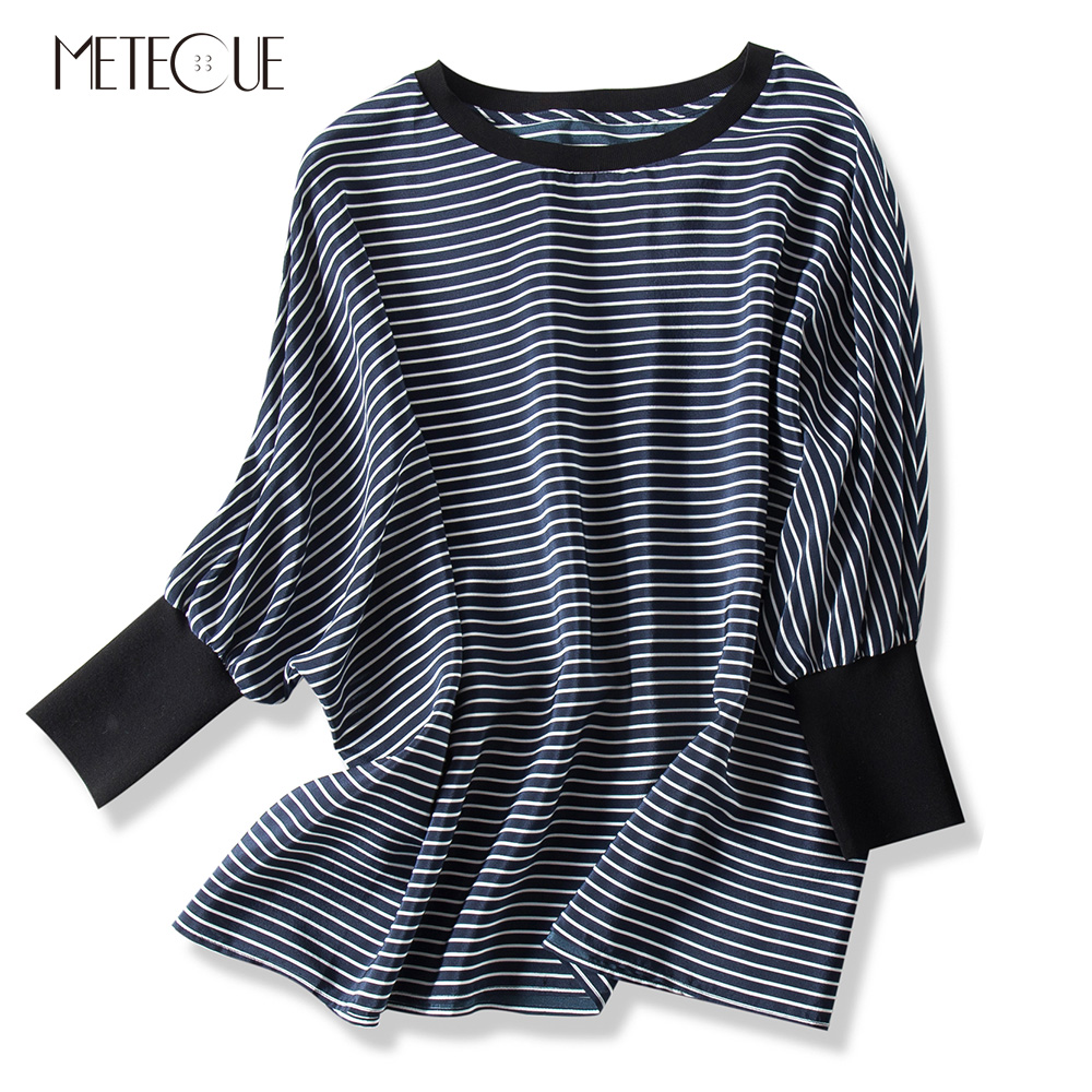Oversized Striped O Neck Raglan Batwing Sleeve Silk Women T shirt Casual Comfortable Breathable Woman Tshirt