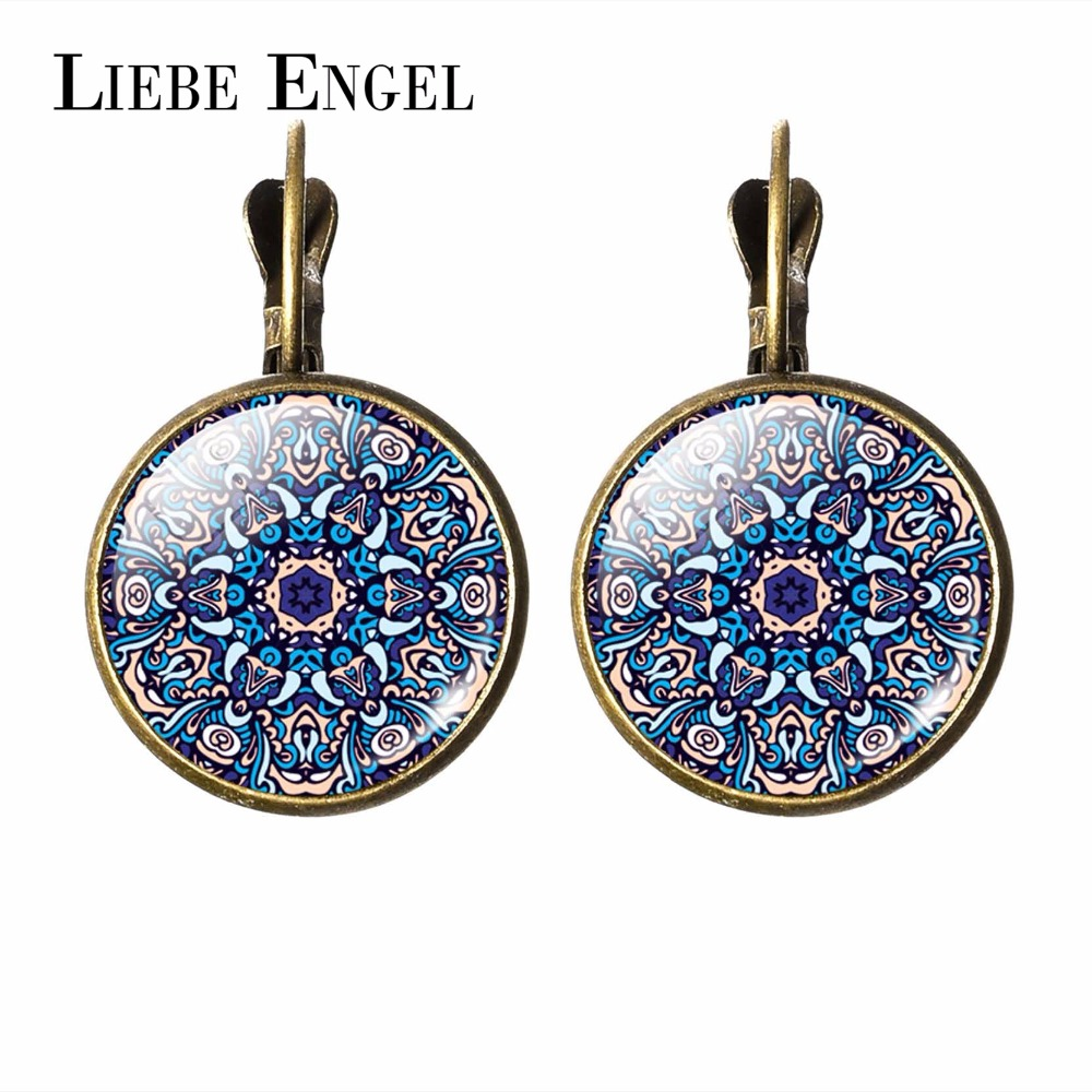 LIEBE ENGEL New 2017 Women Jewelry Rhinestone Mandala Earrings Henna Earring For Women OM Symbol Buddhism Zen Retro Jewelry