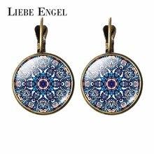 LIEBE ENGEL New 2017 Women Jewelry Rhinestone Mandala Earrings Henna Earring For Women OM Symbol Buddhism Zen Retro Jewelry