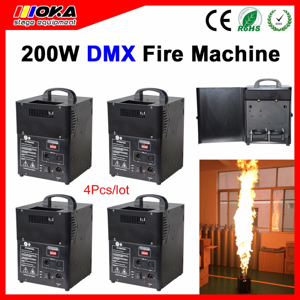 4pcs/lot new arrival 200W spray Fire Machine DMX Flame Spray Projector Machine Stage Fire Special Effect Equipment