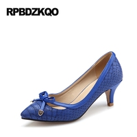 Women 12 44 Shoes Plus Size Summer Pointed Toe Royal Blue Kitten 33 Snake Pumps 11