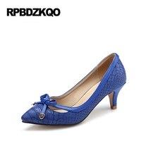 Women 12 44 Shoes Plus Size Summer Pointed Toe Royal Blue Kitten 33 Snake Pumps 11 43 High Heels Snakeskin 3cm 1 Inch Ladies Low