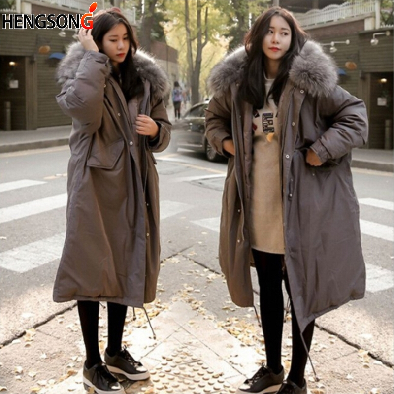 New Winter Warm Long Oversize Parka Coat Fur Collar Thick Korean Style Large Size Fashion Lady Loose Overcoat