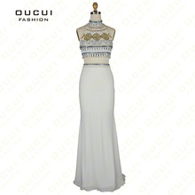 oucui Real Photo Jersey Fabric two-piece Evening Dress
