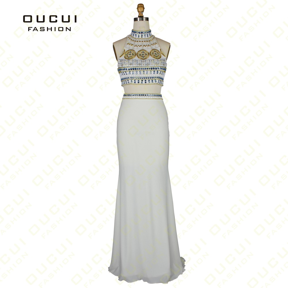Real Photo Jersey Fabric two-piece Beading hand work Formal Long   Evening     Dress   OL102474