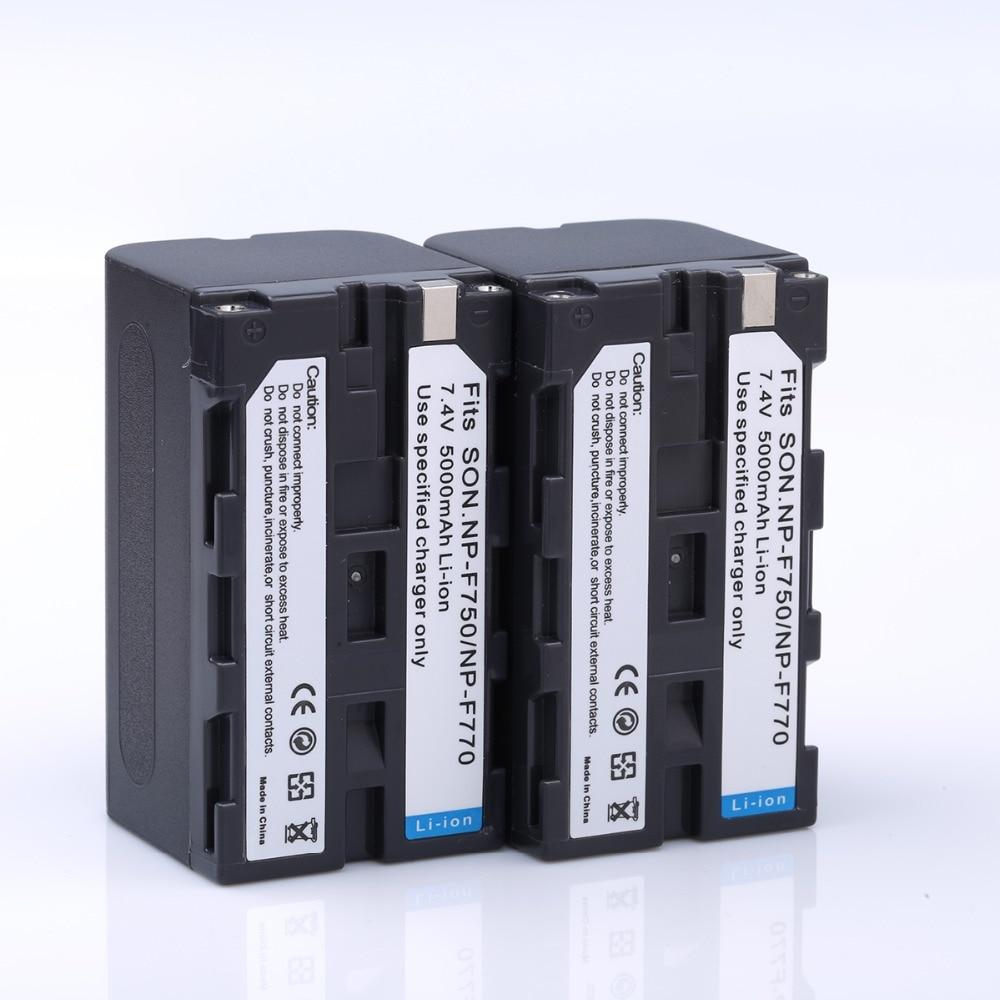 2 unids alta capacidad 5000 mAh NP-F750 NP F750 F770 F730 NPF750 Cámara recargable batería para SONY DCR-TRU47E DCR-TV900 CCD-TRT97