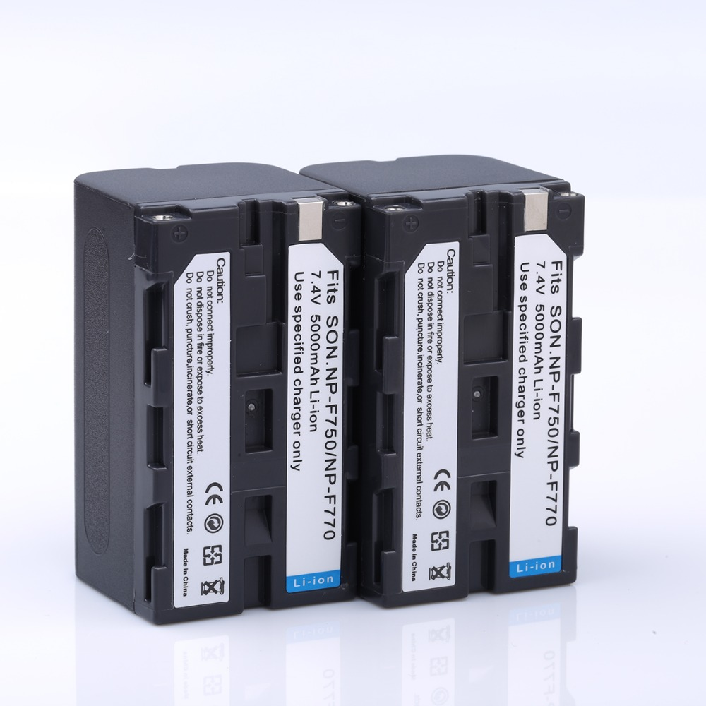 2PCS High Capacity 5000mAh NP-F750 NP F750 F770 F730 NPF750 Camera Rechargeable Battery for SONY DCR-TRU47E DCR-TV900 CCD-TRT97