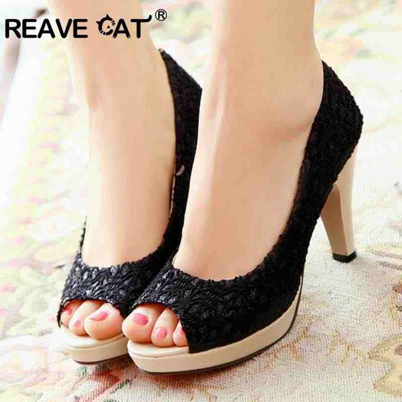Reave cat 레이스 여성 콘 하이힐 peep toe pumps 숙녀 빅 사이즈 43 봄 여름 파티 chaussures femme zapatos mujer black
