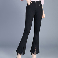 Lace Slim Casual Trousers Women Elastic Waist Bell Bottom Pants Women Korean Style Trousers Pantalon Mujer