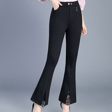 ФОТО lace slim casual trousers women elastic waist bell bottom pants women korean style trousers pantalon mujer trouser suit p5c1108