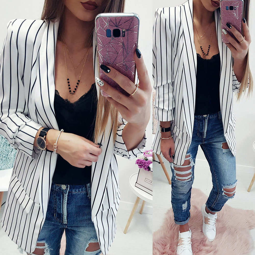 2018 Female New Fashion Stand Striped Coats Women Ladies Long Sleeve Striped Stylish Duster Jacket Coat high quality W510 jeans con blazer mujer